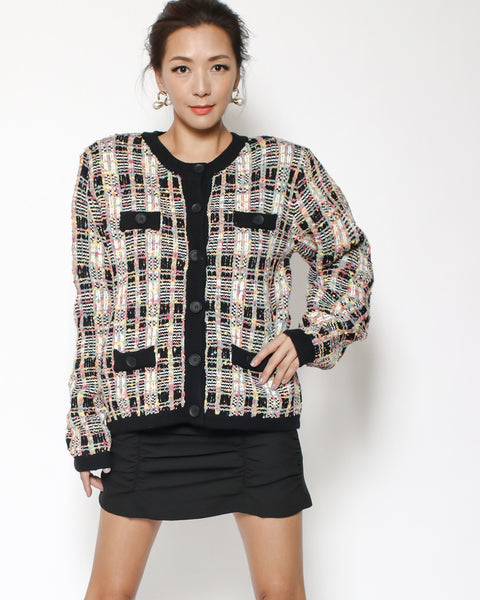 black tweed cardigan