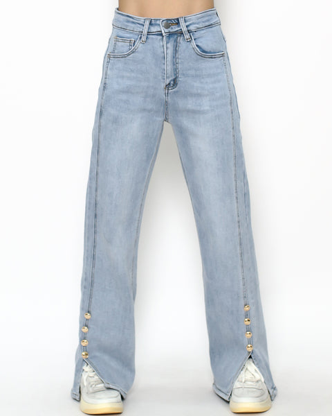 blue denim splits button straight jeans *pre-order*