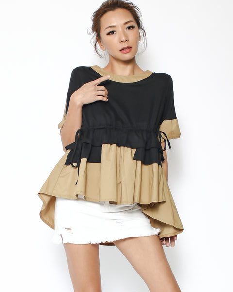 black tee with beige shirt contrast top *pre-order*