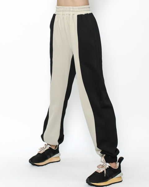 black & beige sweat joggers