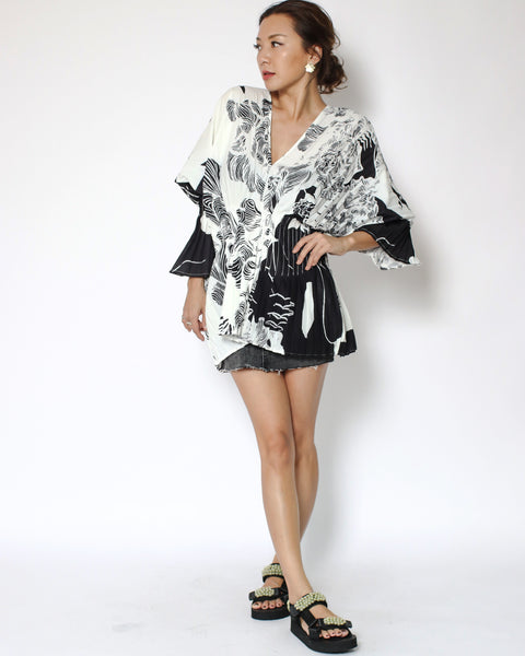 ivory with black printed pleats asymmetric slinky top *pre-order*
