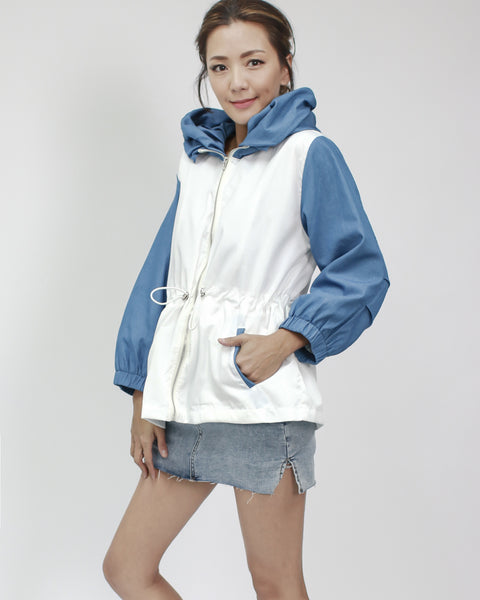 white technic weave with denim contrast sleeves & hoodie jacket