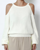 ivory cutout shoulders knitted top *pre-order*