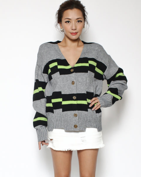 grey & black neon green stripes cardigan *pre-order*