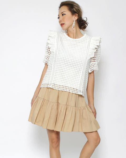 ivory crochet ruffles top