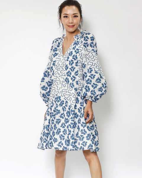 blue printed puff sleeves dress *pre-order*