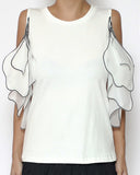 ivory tee with mesh ruffles cutout shoulders top *pre-order*