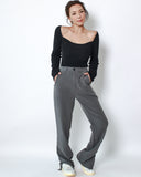 grey crepe splits sides straight legs pants *pre-order*