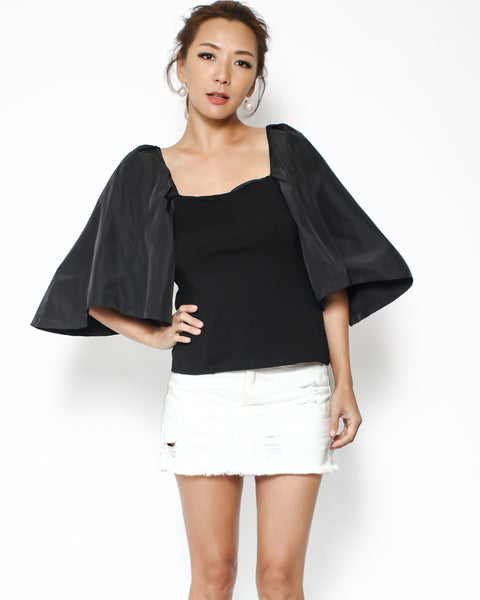 black tee with contrast sleeves top *pre-order*