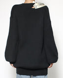 black knitted top & scarf neckline *pre-order*