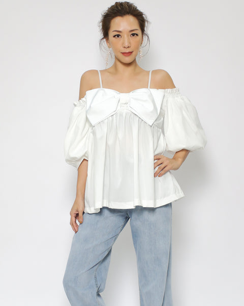 ivory bow front off shoulders slinky top