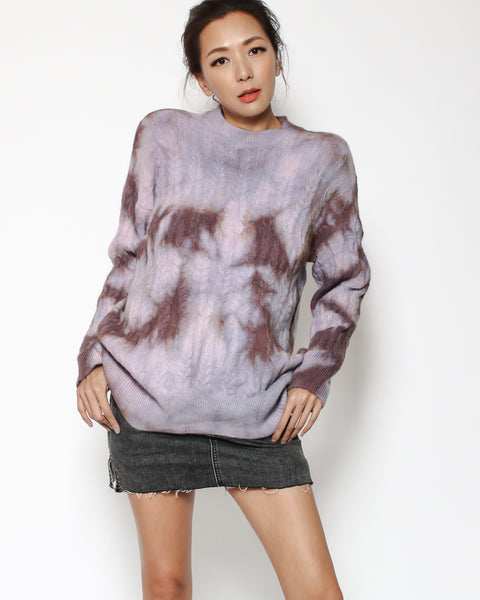 purple tie-dye knitted top