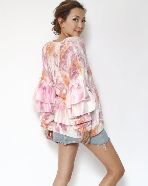 pink tie-dye with satin ruffles sleeves knitted cardigan