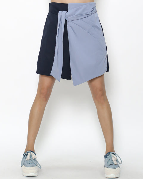 navy & blue shirt skort