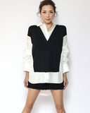 ivory shirt with black knitted contrast top *pre-order*