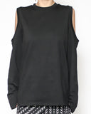 black cutout shoulders long sleeves tee