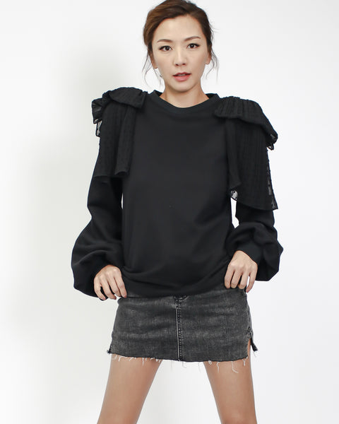 black sweatshirt with polka dots chiffon shoulders