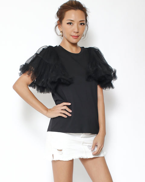 black tee with mesh ruffles shoulders *pre-order*