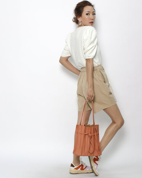 orange PU leather pleats bag with pouch *pre-order*
