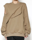 camel cutout shoulder sweatshirt