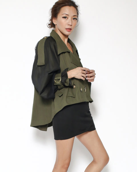 army green twill & black sheer sleeves jacket