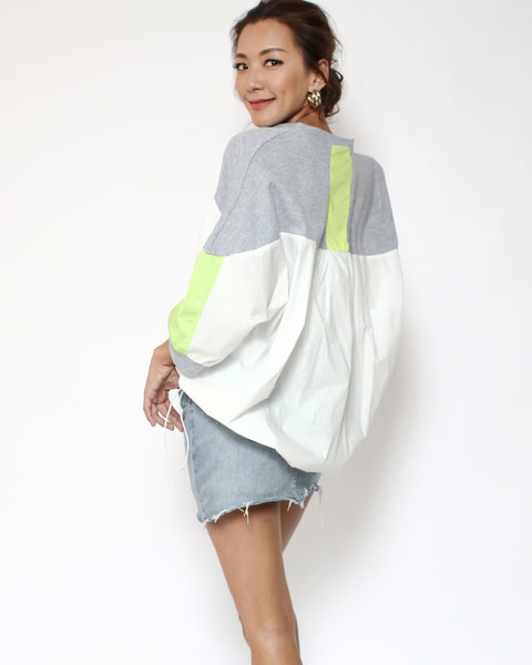 grey tee with ivory shirt & neon green drawstring waist cardigan *pre-order*