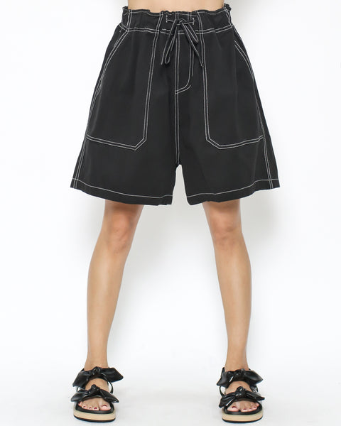 black thick twill cotton shorts
