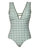 green checkers U back one piece swimsuit *pre-order*