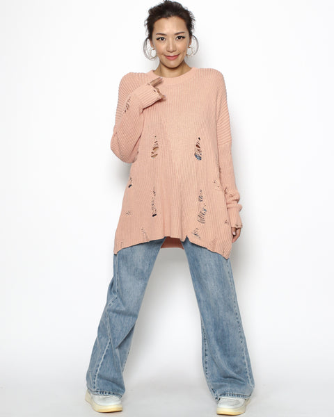 coral ripped knitted long top