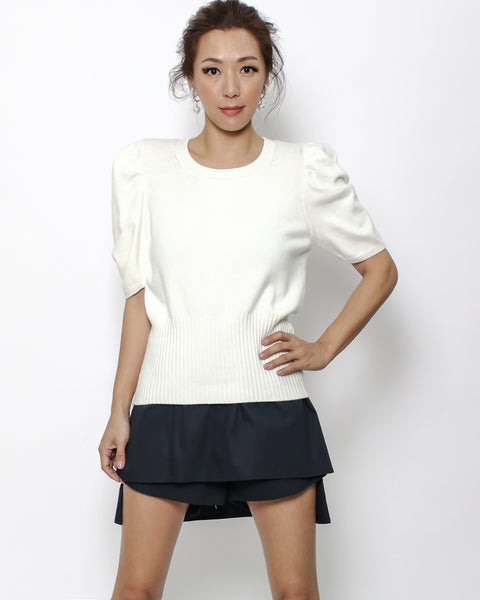 ivory ruched sleeves knitted top