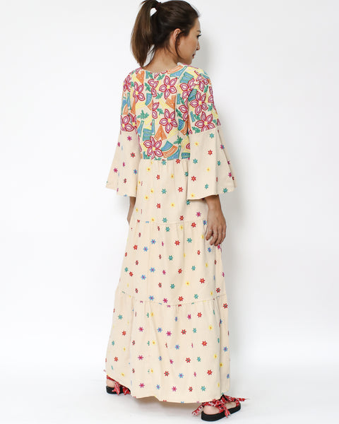 beige embroidered bell sleeves longline dress