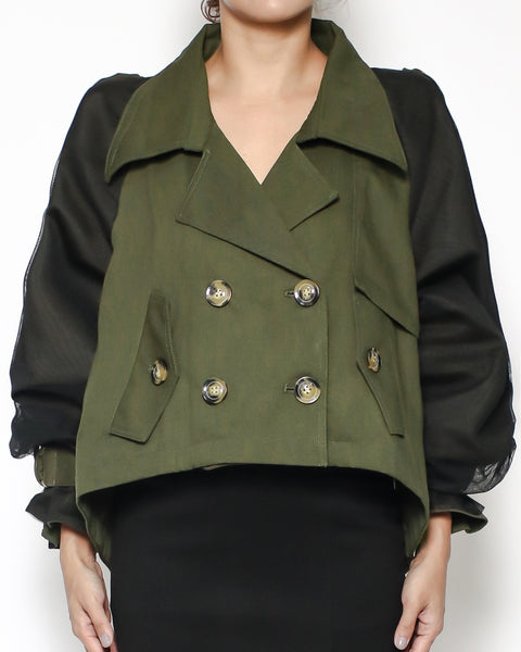 army green twill & black sheer sleeves jacket *pre-order*