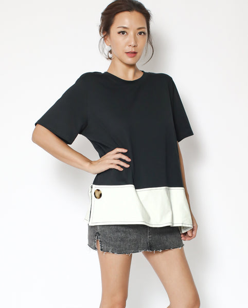black tee with ivory contrast panel with button front *pre-order*