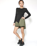 black ottoman tee with shoulder pads asymmetric hem top