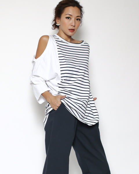 white & navy stripes cutout shoulder tee