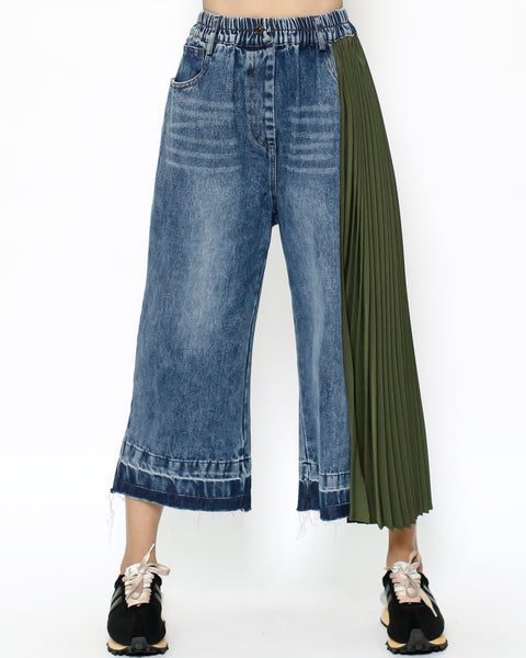 denim & green chiffon pleats side pants