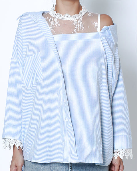 blue stripes shirt with lace contrast *pre-order*