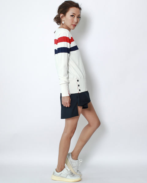 ivory with red & navy stripes fine knitted top *pre-order*