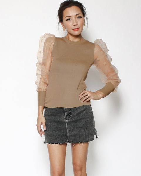 camel knitted & mesh polka dots sleeves top