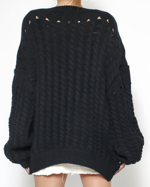black chunky knitted top *pre-order*