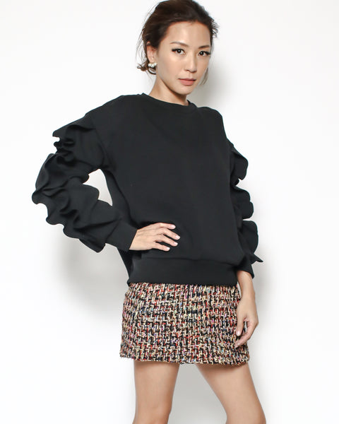 black ruffles sleeves neoprene sweatshirt
