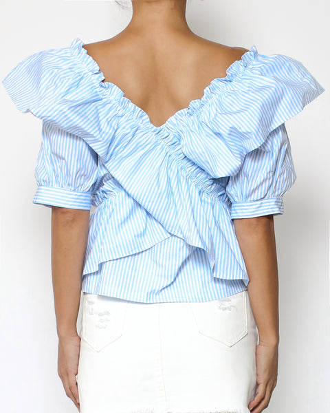 blue stripes ruffles shirt top *pre-order*