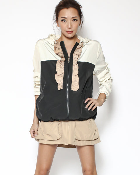 ivory & black contrast with sand ruffles hoodie technic jacket *pre-order*