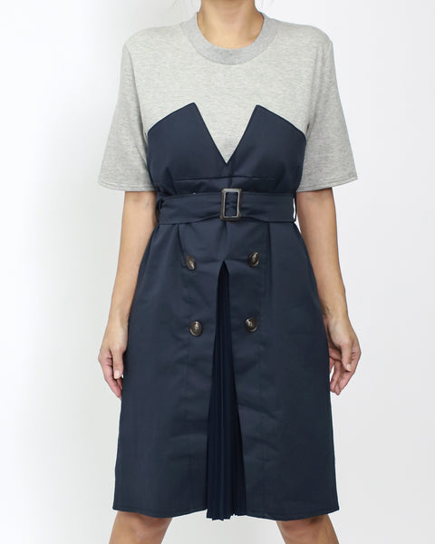grey & navy shirt pleats tee dress with belt *pre-order*