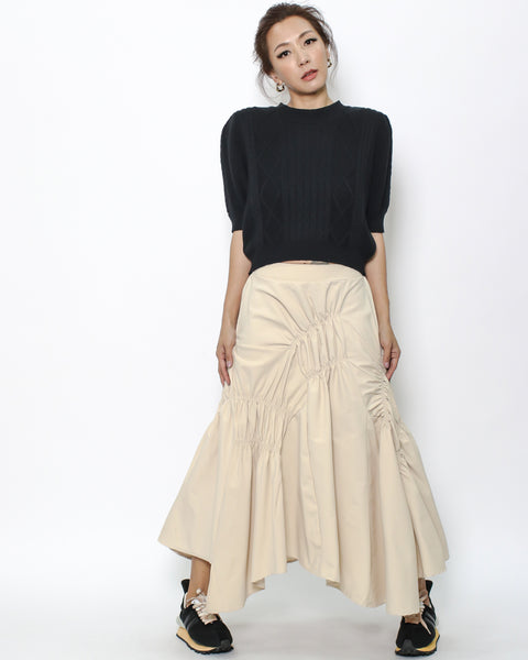 beige ruched skirt