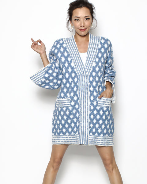 blue pattern & pearls knitted cardigan