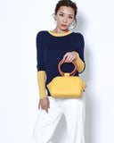 yellow PU leather bag with wood handles *pre-order*