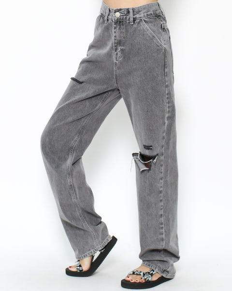 grey ripped straight legs jeans *pre-order*