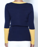 navy & yellow contrast knitted top