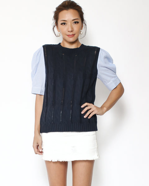 navy knitted with blue pinstripes shirt sleeves top